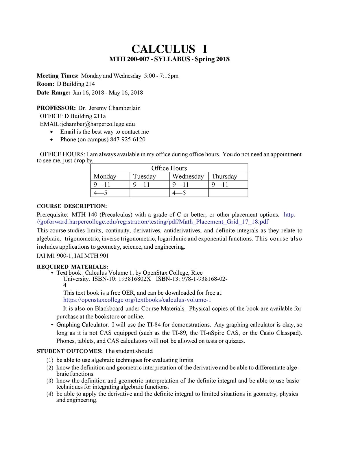 MTH 200 007 Syllabus Spring 18 - PHY 201 - StuDocu