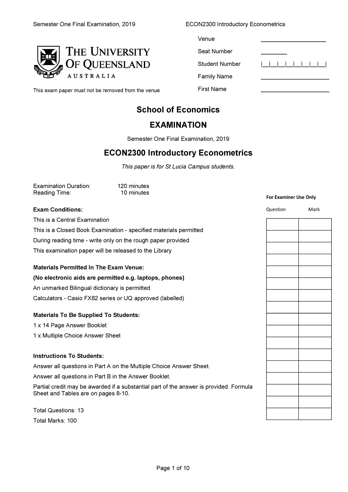 Final Sem 1 2019 - ECON2300 Introductory Econometrics - UQ ...