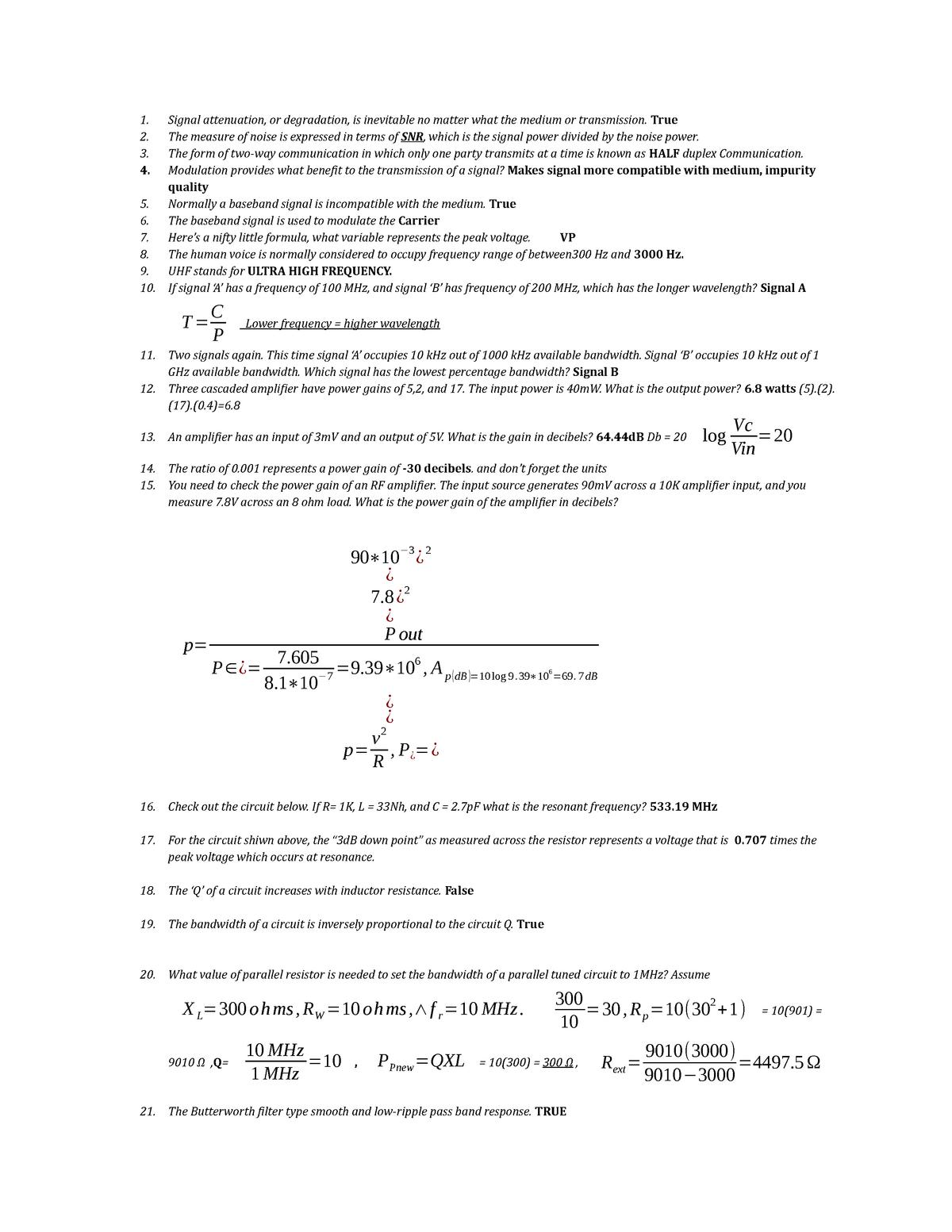 Midterm 1 - EET 2325C: Rf Communication  - StuDocu