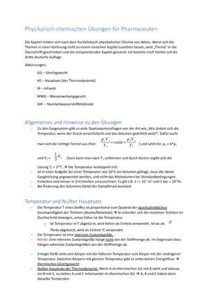 Übungen und Zusammenfassung Physikalische chemie - 030400 ...