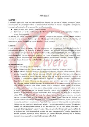 Francese Ii Appunti Per Lo Studio Della Grammatica Francese