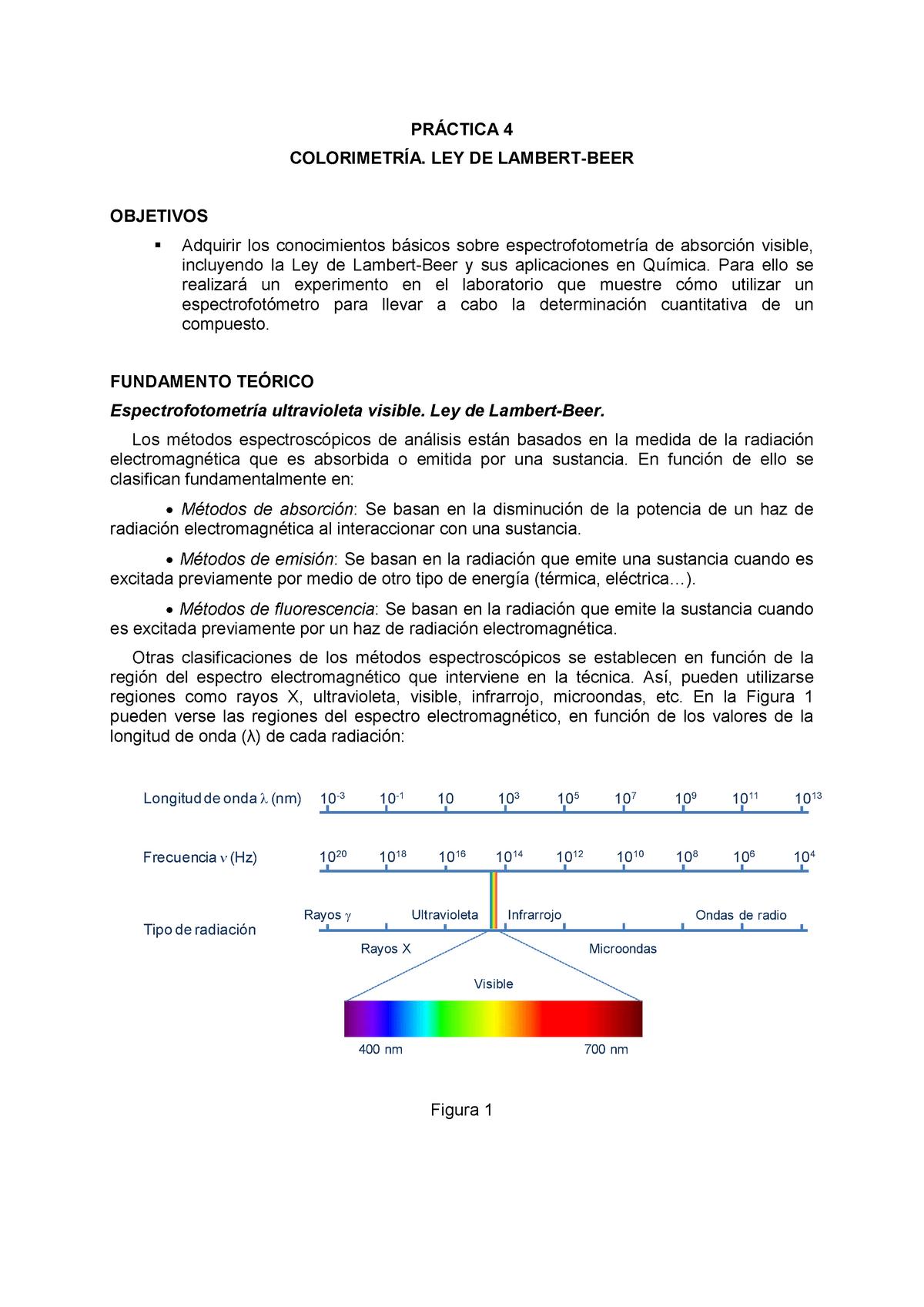 189cd52bd Practica 4 Colorimetria Ley de Lambert Beer - 09  Quimica - StuDocu