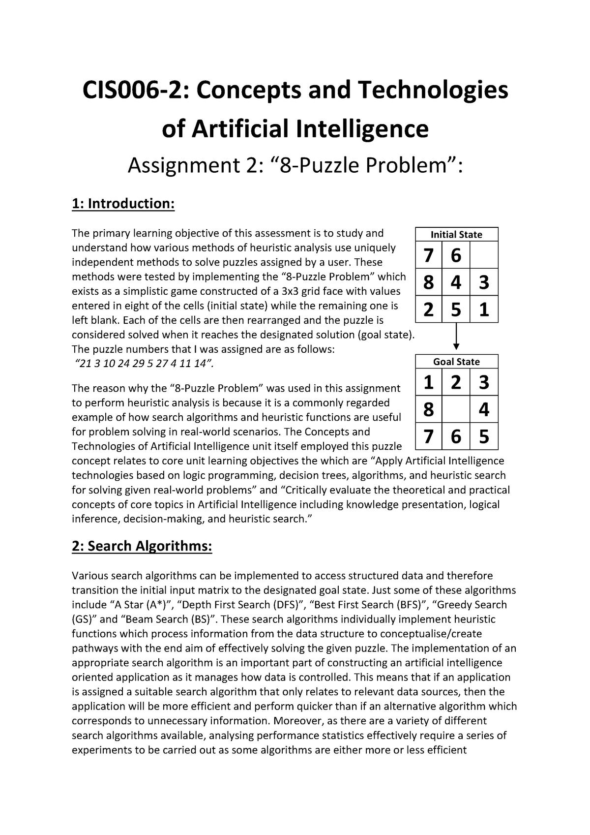8 Puzzle Problem Information - CIS006-2/Ltn/SEM2: Concepts