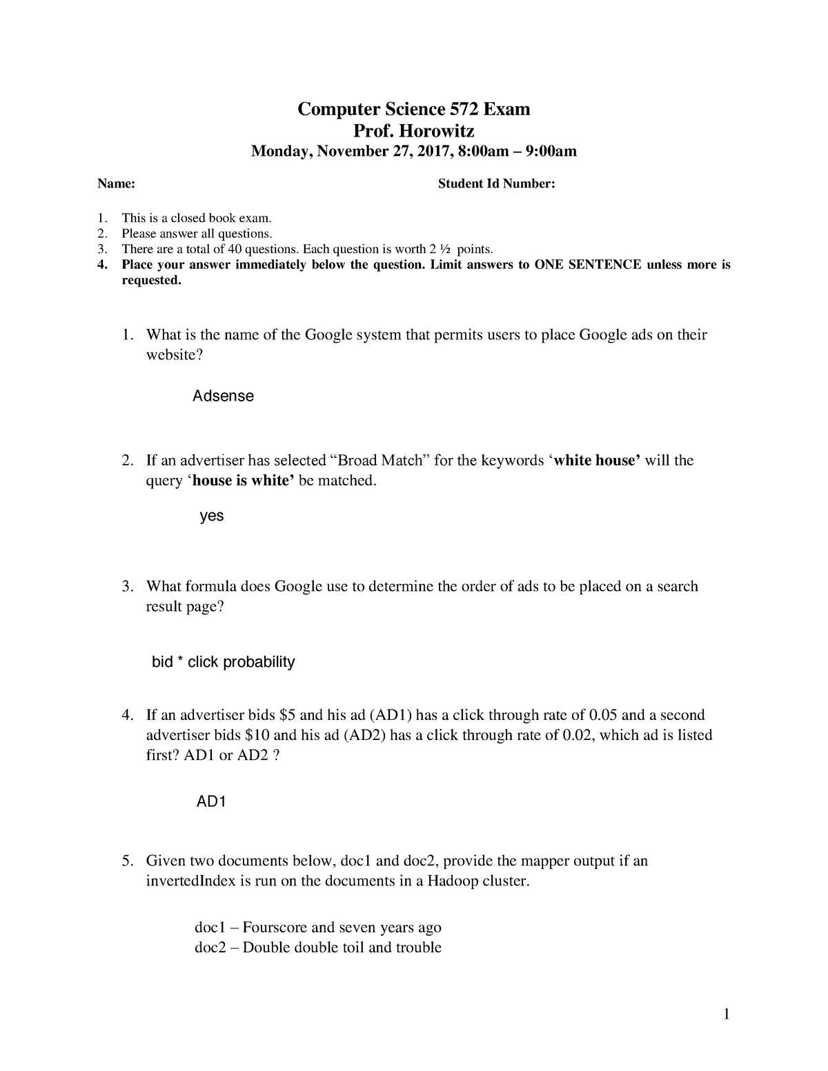 Exam 2017, questions - CSCI572 - USC - StuDocu