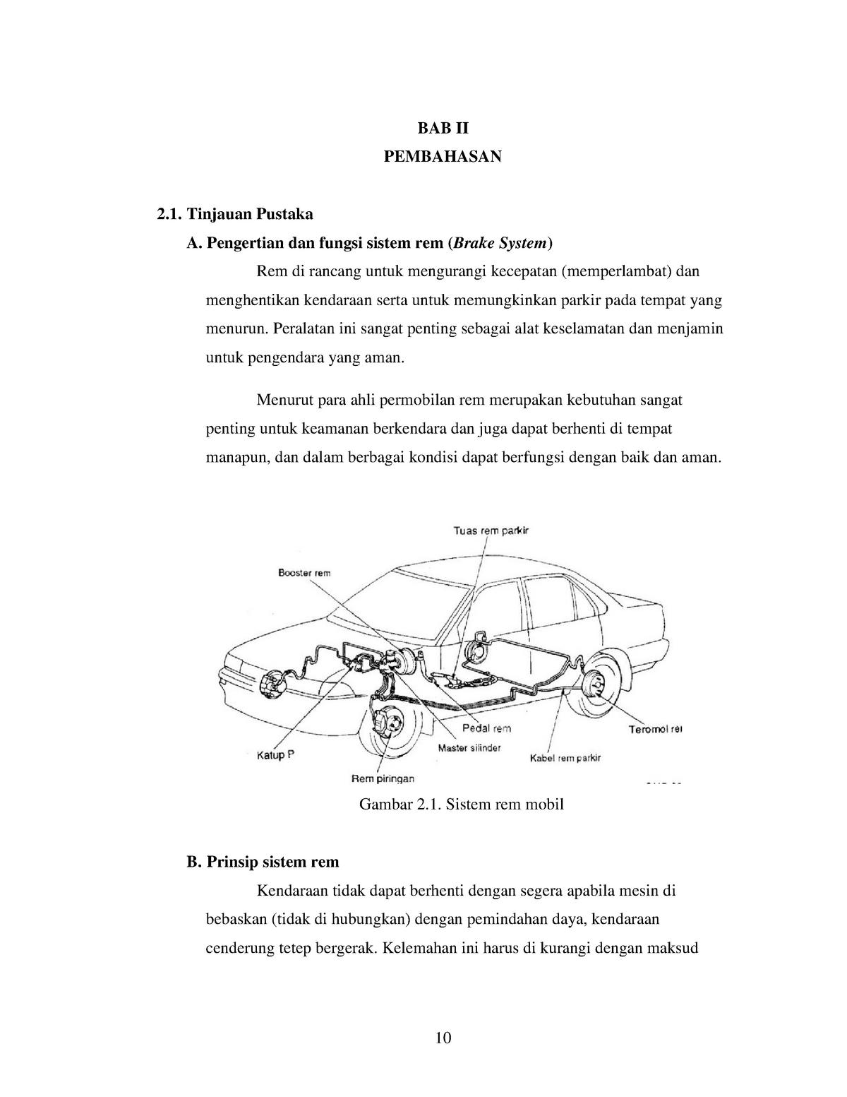 Bab Ii Pembahasan Tentang Systen Pengereman Pada Kendaraan