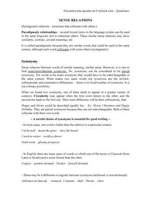 7  SENSE RELATIONS - Semantics - StuDocu