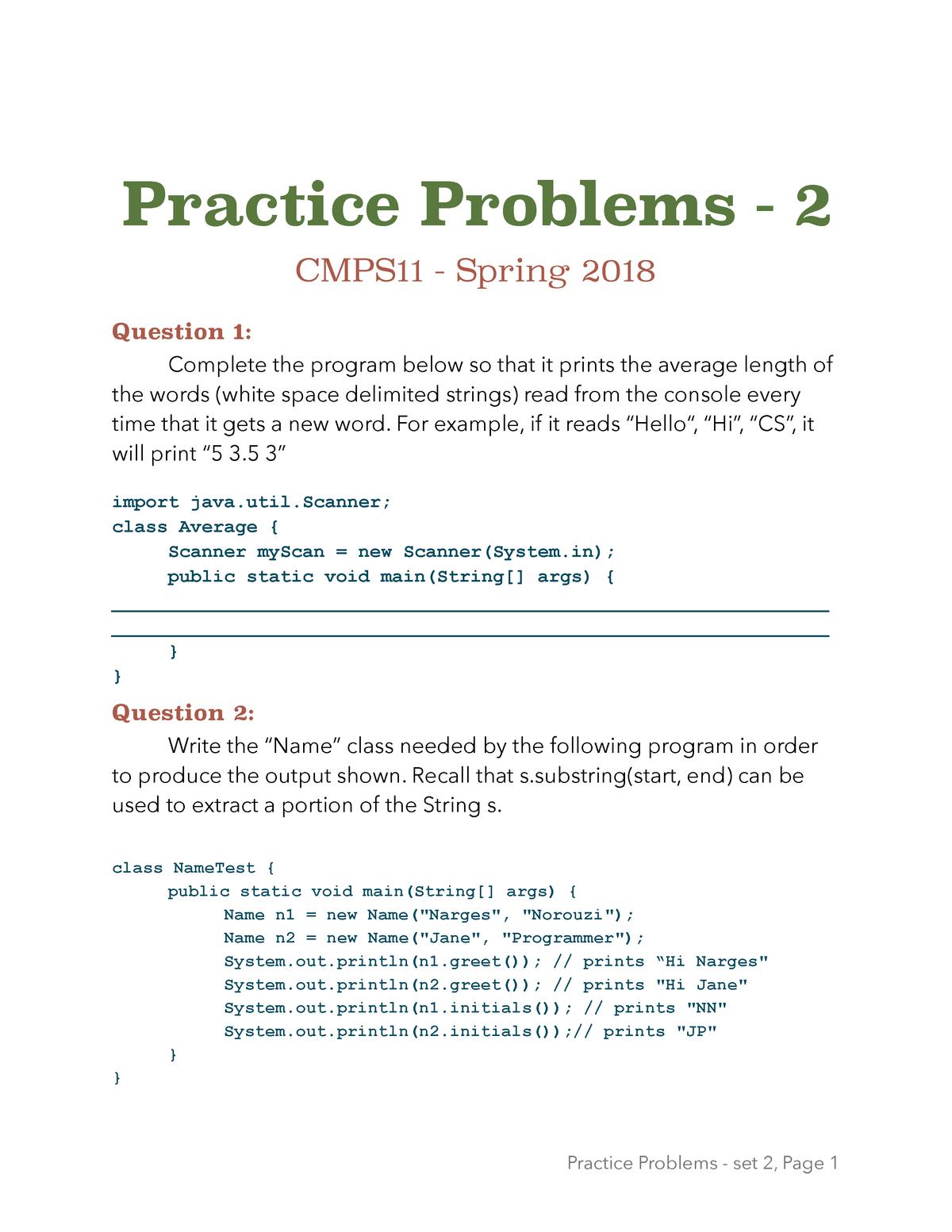 Exam 2018 - CMPS 11: Intermediate Programming - StuDocu