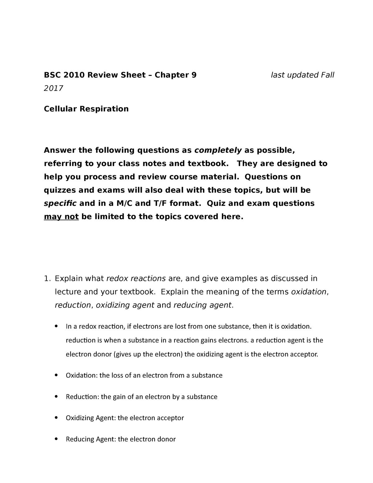 EXAM 3 Chapter 9 Fall 2017 - BSC2010 Cellular Processes - StuDocu