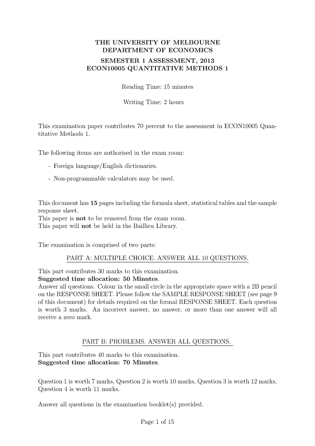 Exam Sem 1, 2013 Questions and Answers pdf - ECON10005 - StuDocu