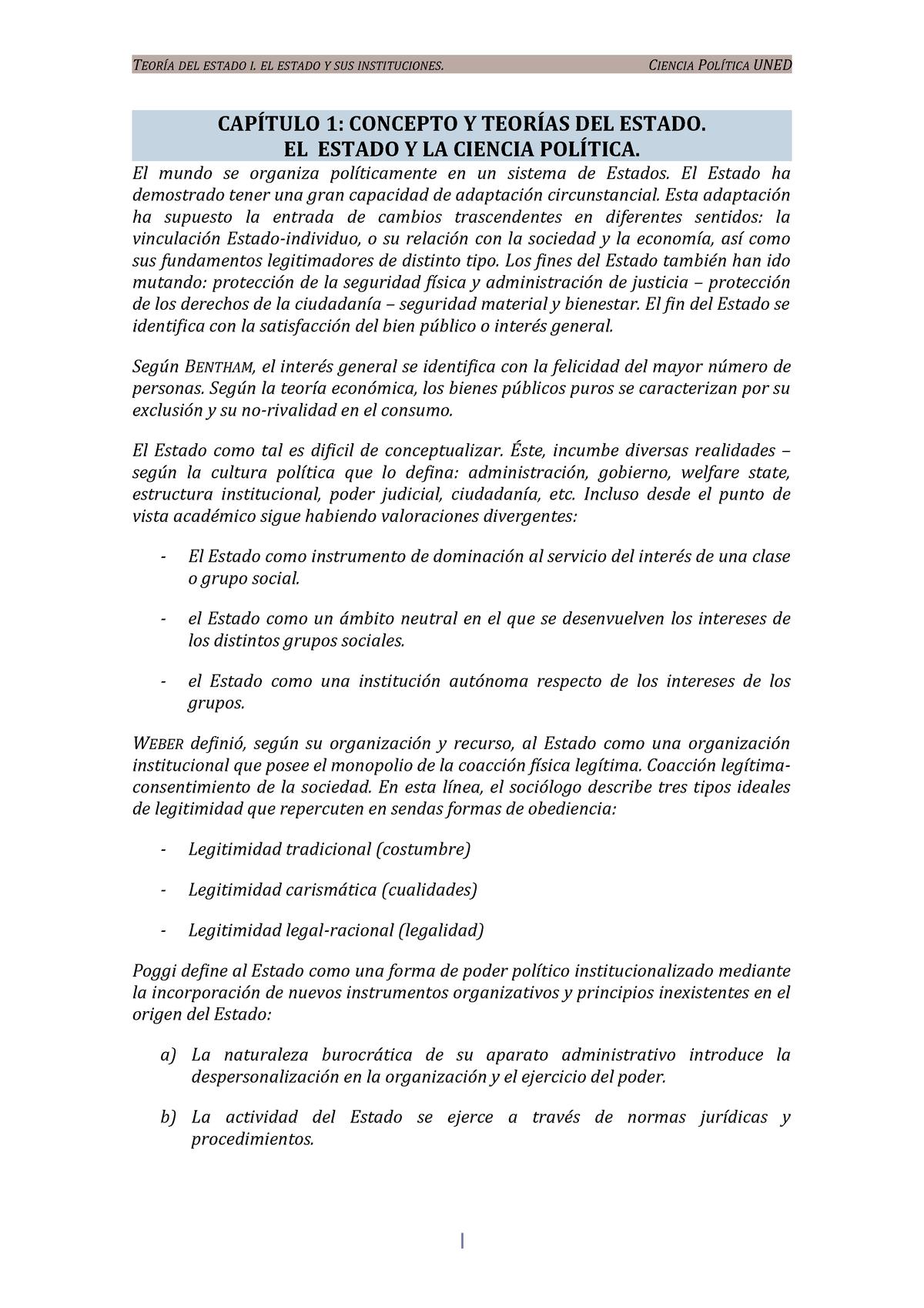 Apuntes Temas 1 12 Con Excepciones Teoría Del Estado I