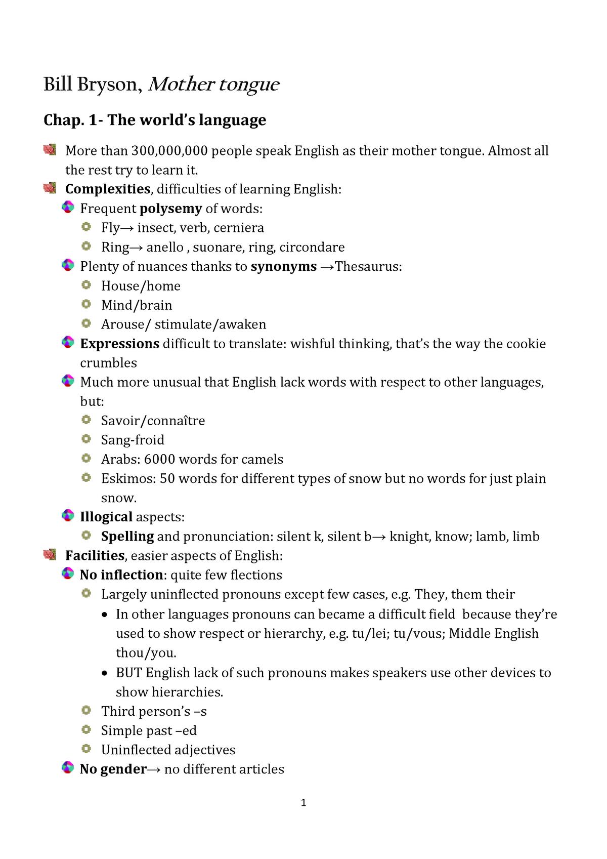 Bill bryson mother tongue riassunto - Lingua Inglese - StuDocu