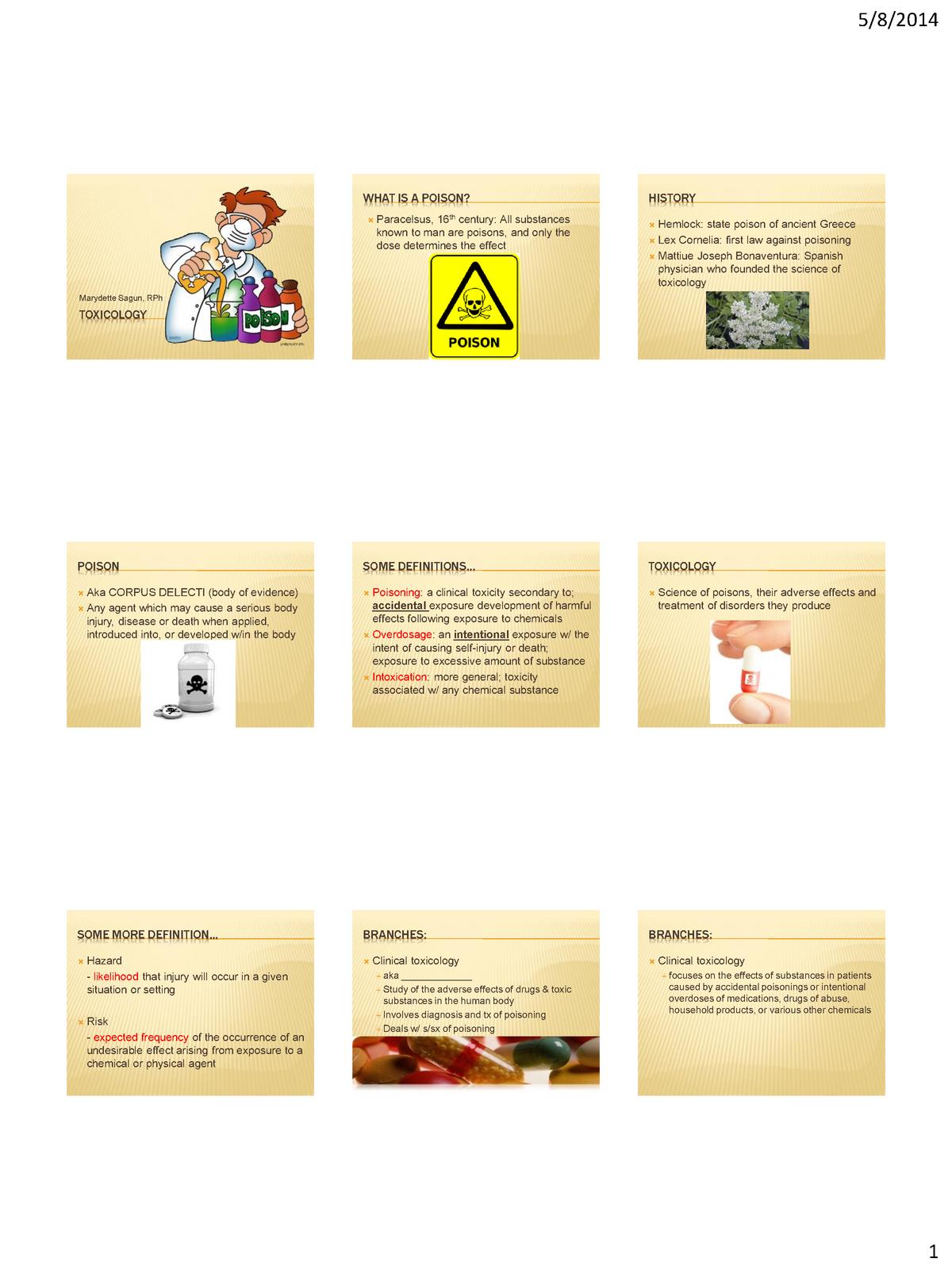 Toxicology - PHARM 3229L: Pharmaceutical Toxicology - StuDocu