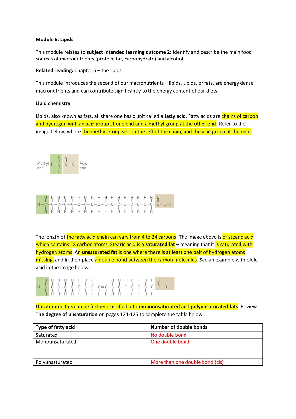 Module 6 Lipids - DTN1NHW: Introduction To Nutrition - StuDocu