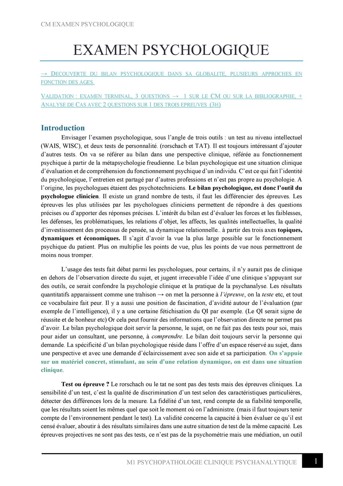 CM Examen Psychologique Psychologie clinique StuDocu