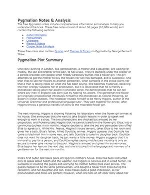plot of pygmalion