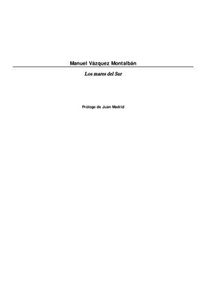Manuel Vazquez Montalban - Los mares del Sur - A001891 ...