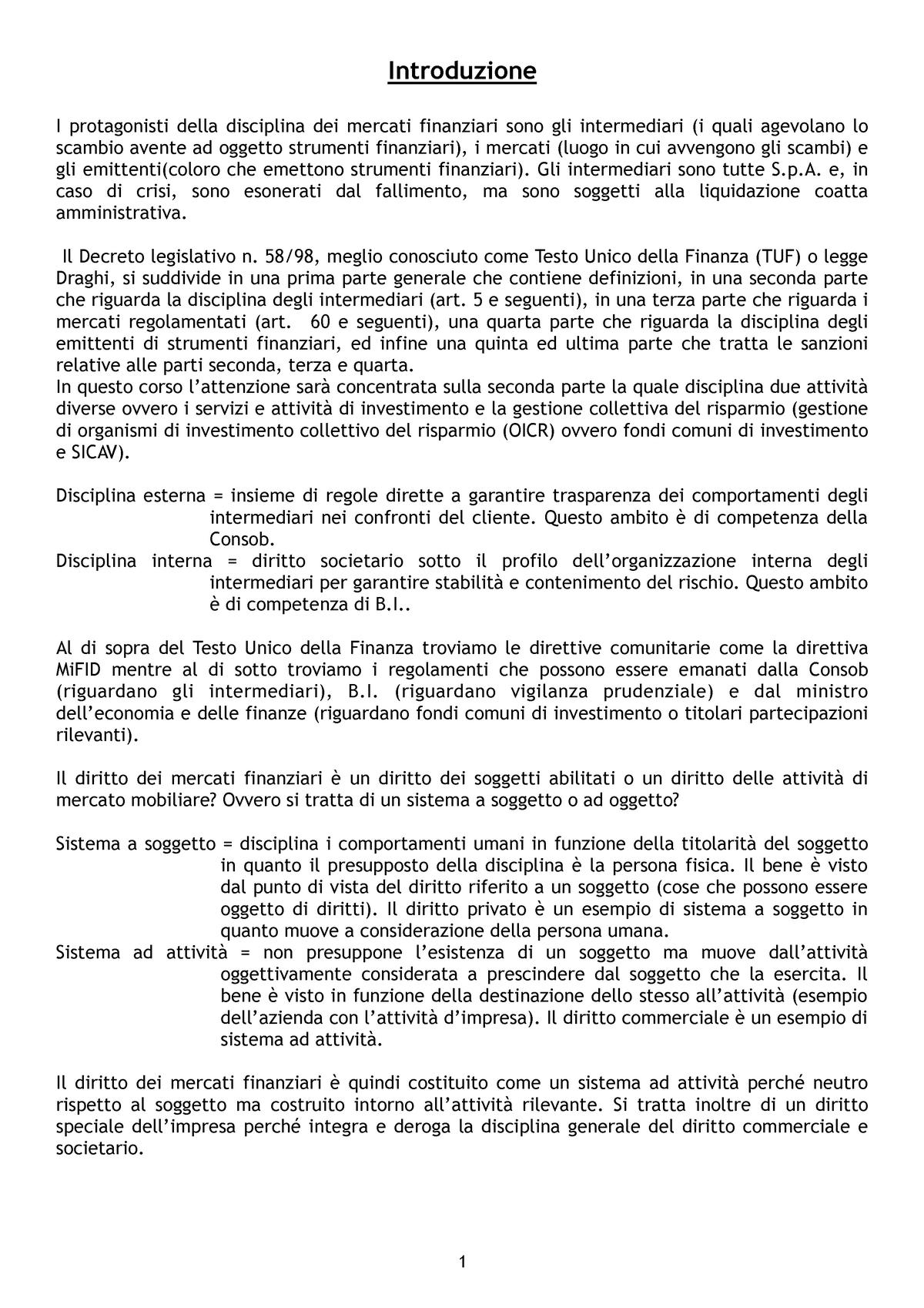 743c7c5010 Diritto dei mercati finanziari - Pinto - Diritto dei mercati finanziari -  StuDocu
