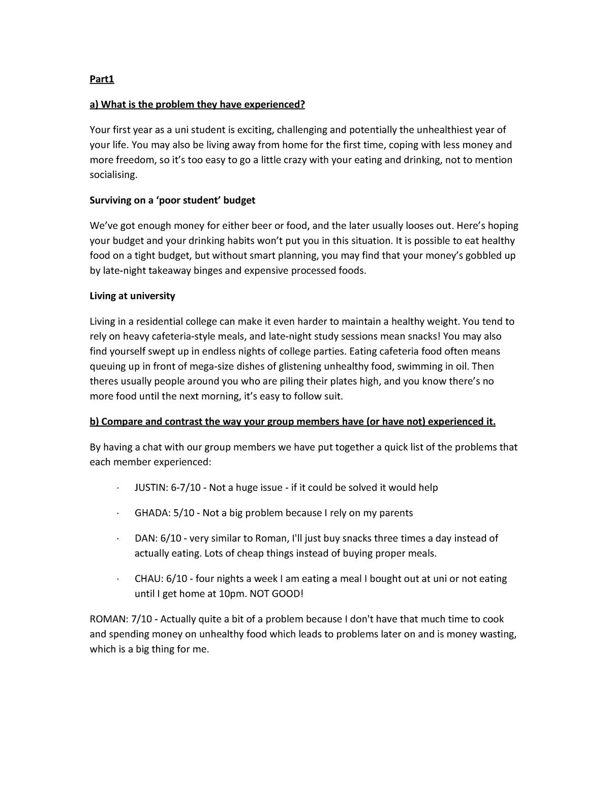 IBP Task1 - Task 1 problem area food - 26100: Integrating Business