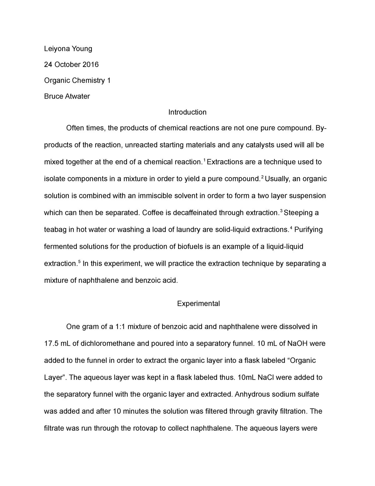 Full Lab Report 1 Extracting Naphthalene From Benzoic Acid Studocu