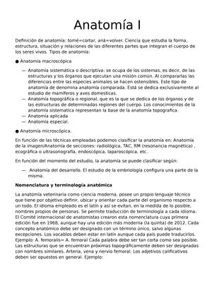 Apuntes, tema 1-8 - Apuntes de anatomia veterinaria de primero de ...
