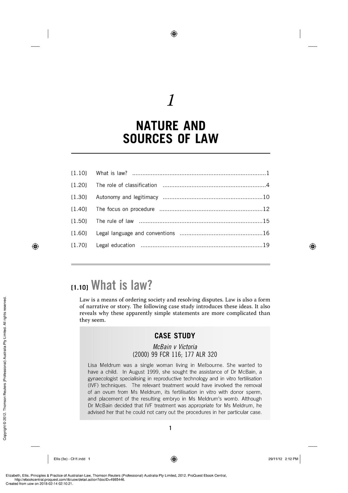 Ellis Principles and Practice of Australian Law CH1 - StuDocu