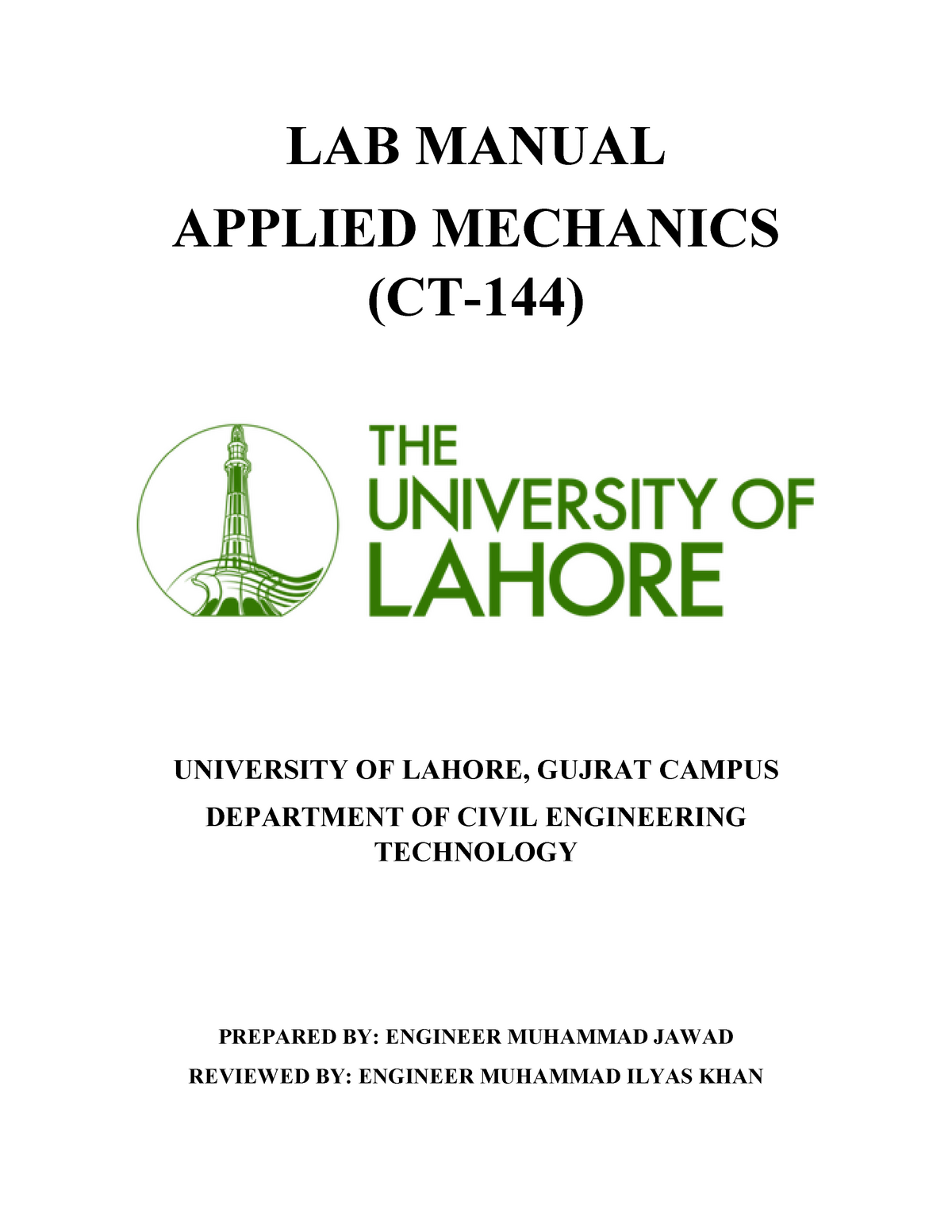 Applied Mechanics Lab Manual[ 1670] - CE-103: Civil