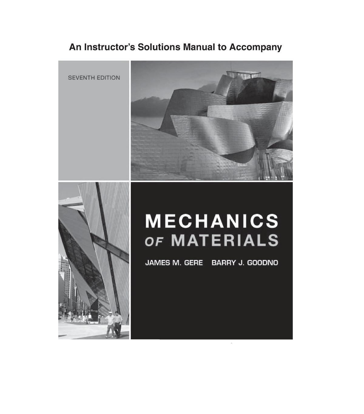 Solution Manual Mechanics Of Materials 7th Edition Gere Goodno Studocu