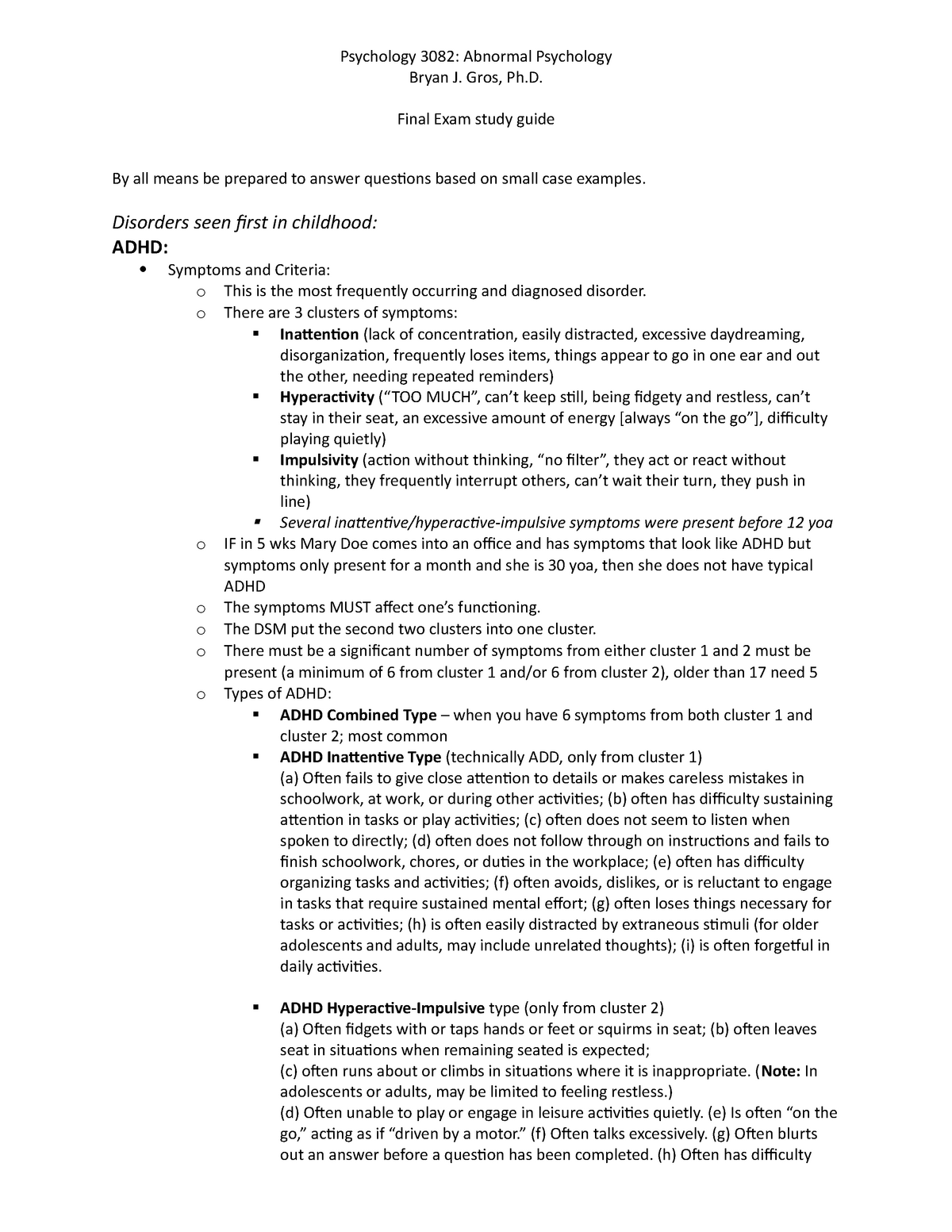 Abnormal final study guide - PSYC 3082: Introduction to
