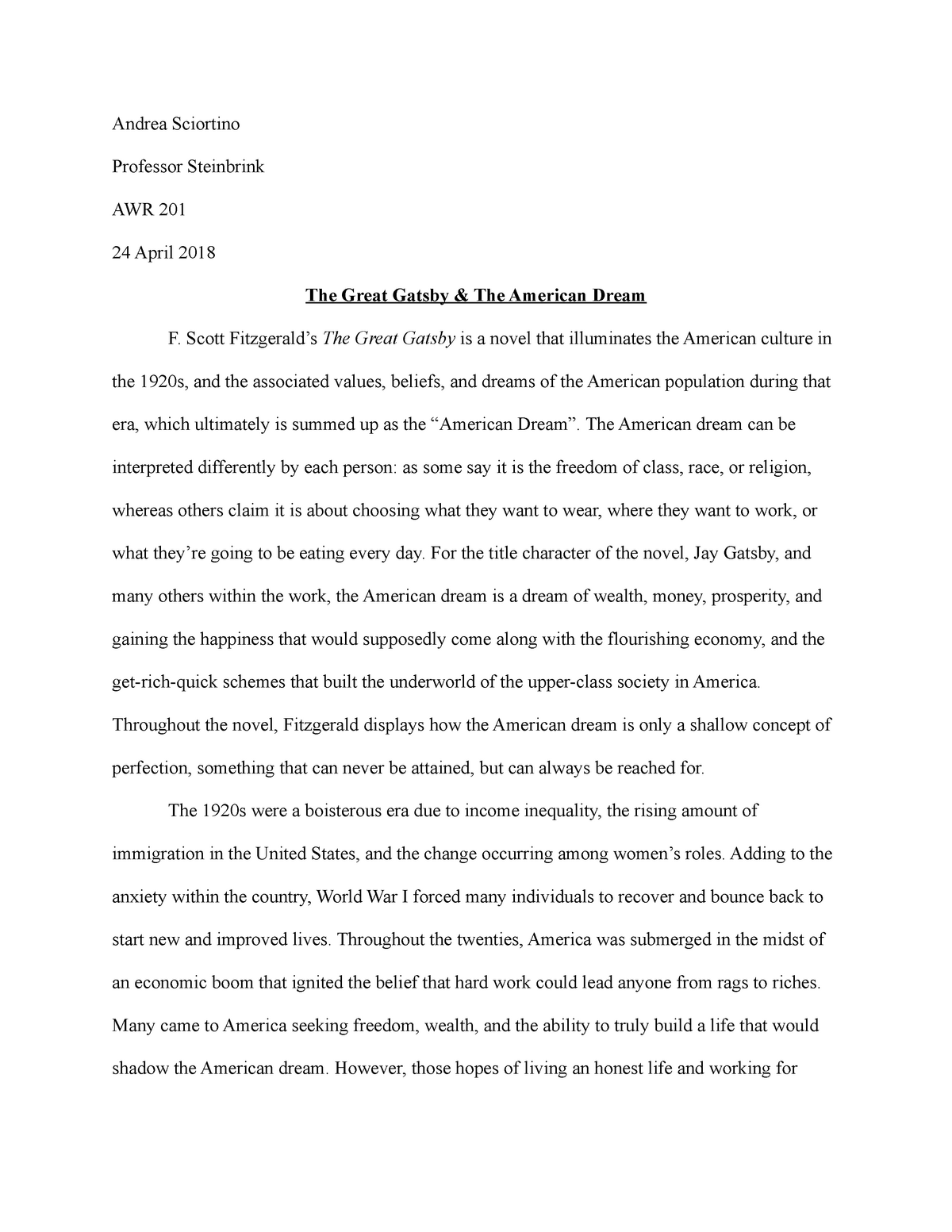 The Great Gatsby American Dream Essay