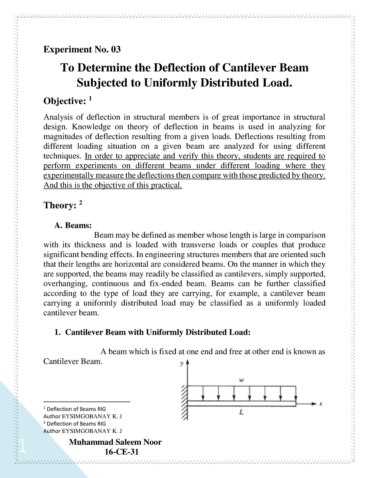 To Determine the Deflection of Cantilever Beam Subjected to