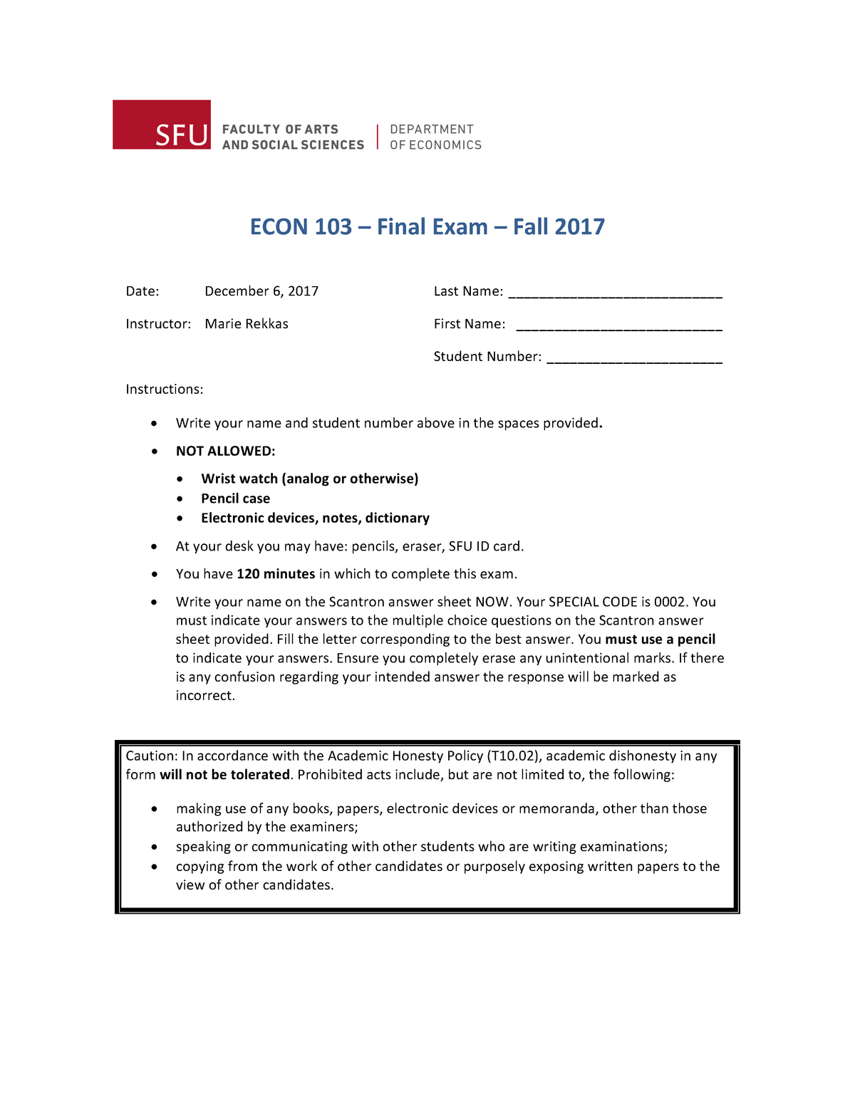Final exam 5 October 2018, questions and answers - SFU ...