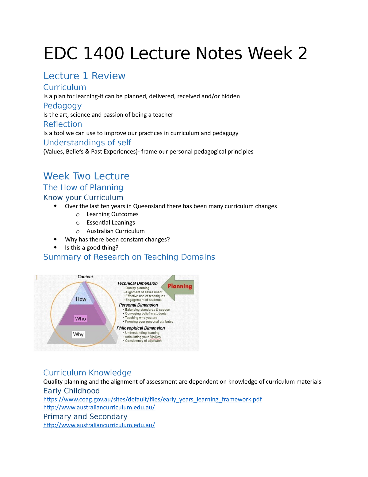 Week 2, Lecture Notes - EDC1400: Foundations of Curriculum and