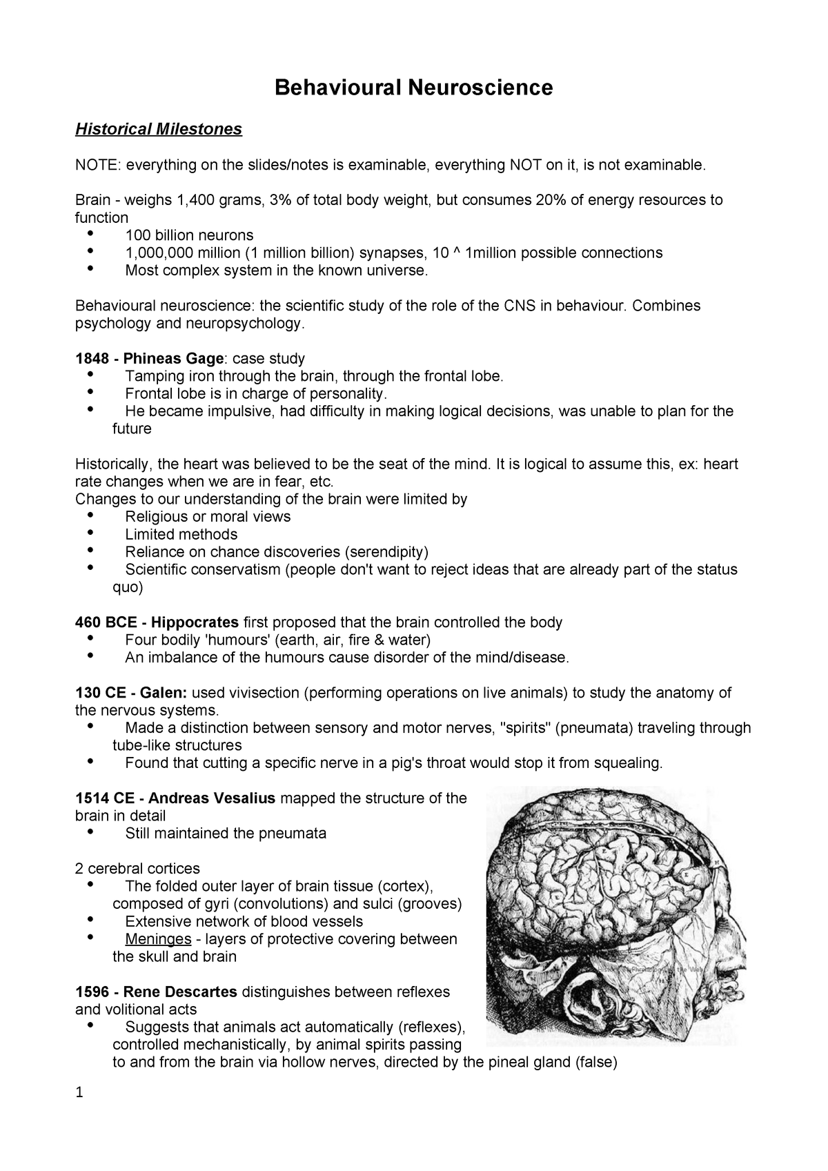 MBB1 Behavioural Neuroscience Notes - PSYC10003: Mind, Brain