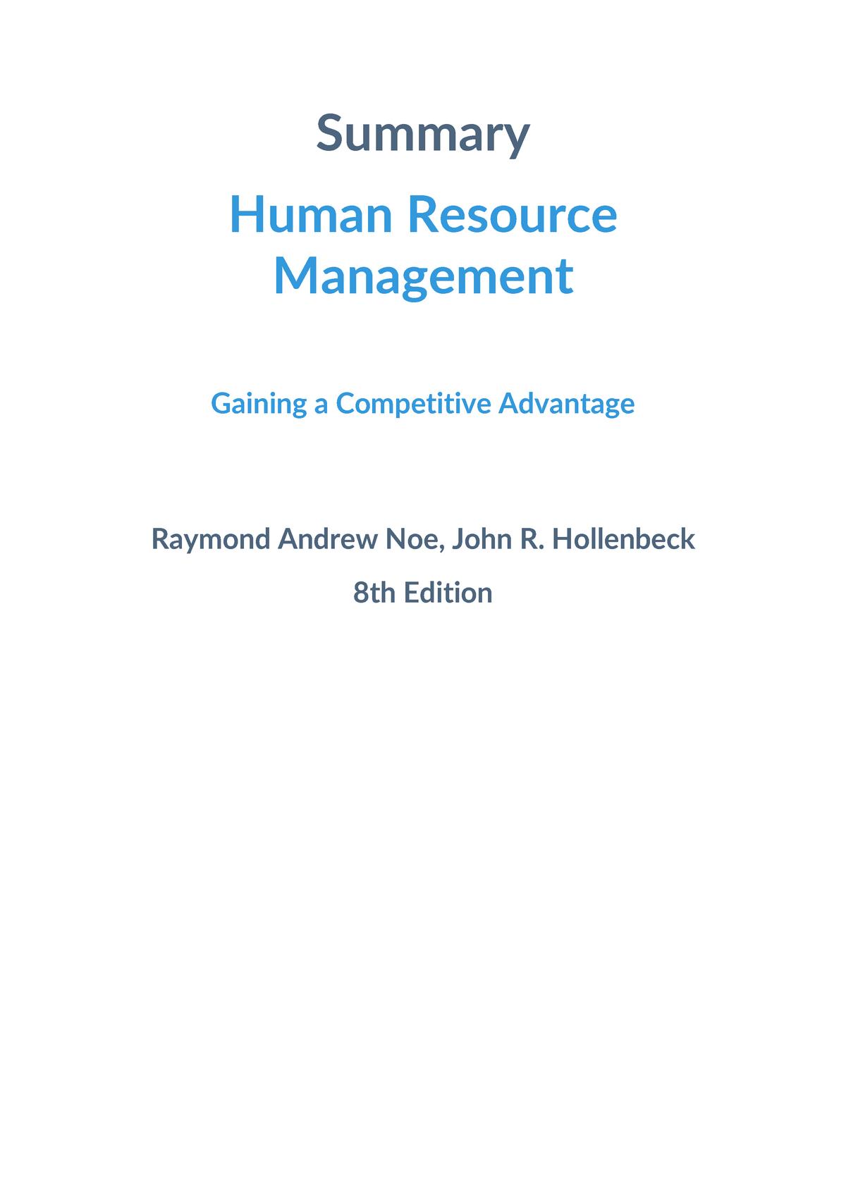 Summary Human Resource Management - Raymond Andrew Noe, John