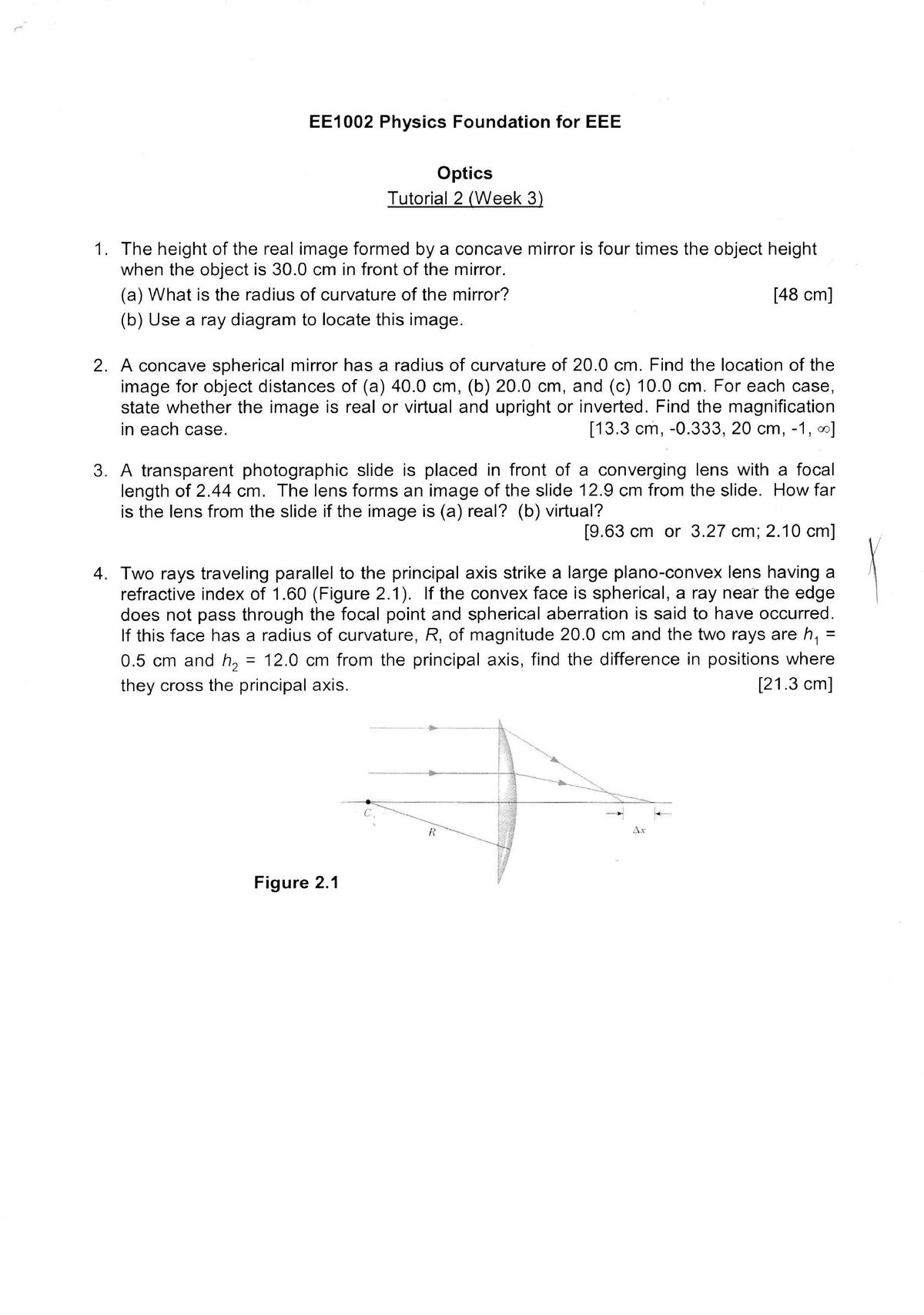 Physics Foundation Tutorial 2 Solution - EE1002: Physics Foundation