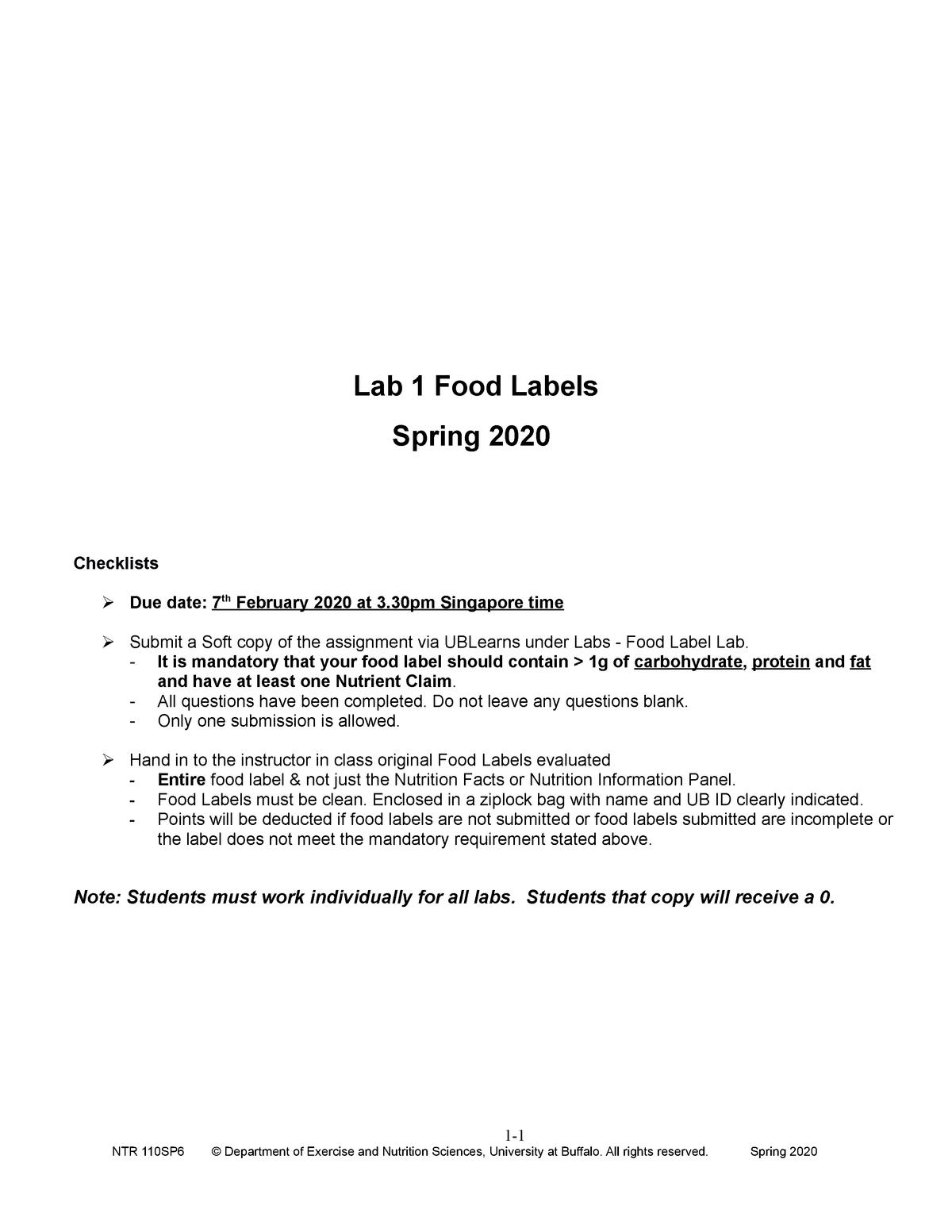 Lab 1 Food Labels Ntr 110 Sp6 Spring 2020 Studocu [ 1553 x 1200 Pixel ]