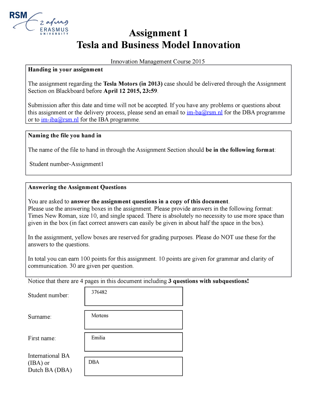 Verplichte Opgaven - Assignment 1: Tesla And Business Model