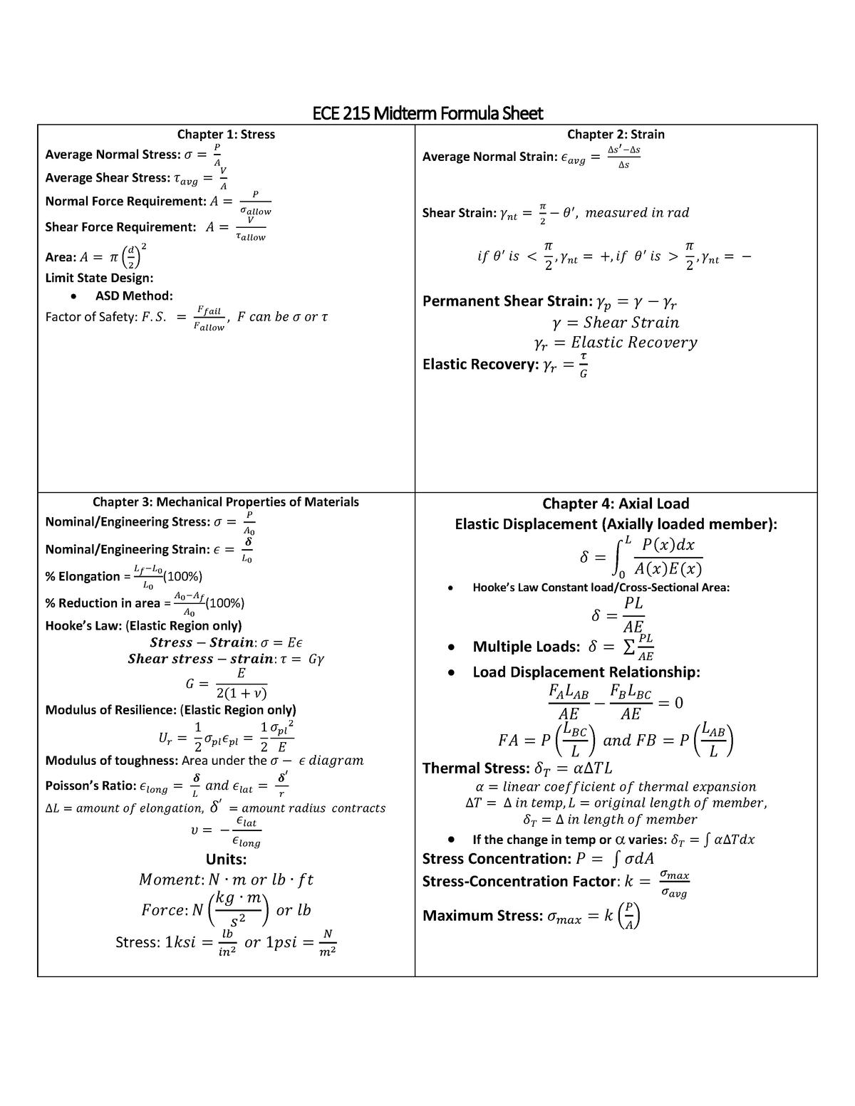ECE 215 Midterm Formula Sheet - MAE 213 - ASU - StuDocu