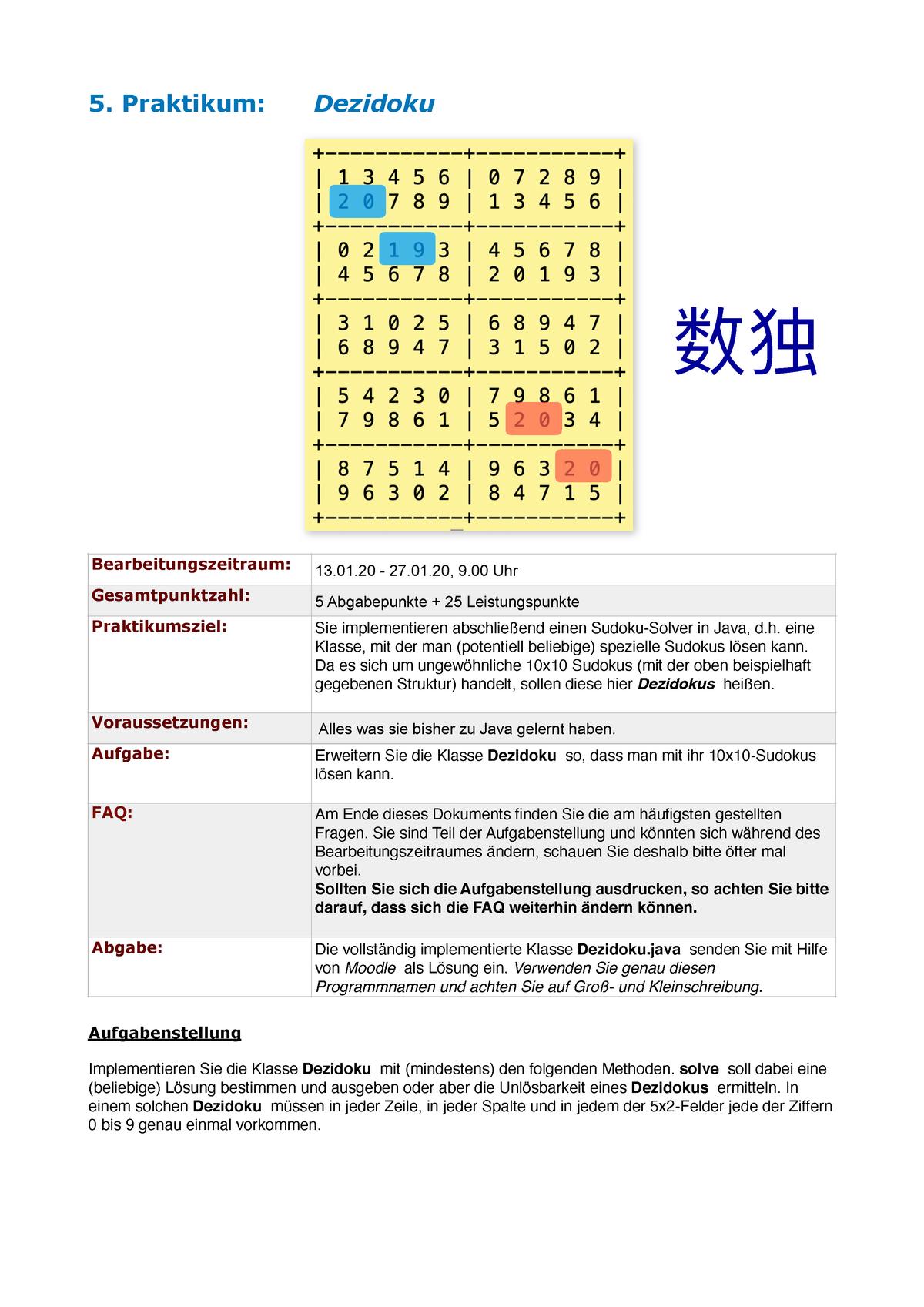 20   20. Praktikum Dezidoku Aufgabenstellung Implementieren Sie die ...