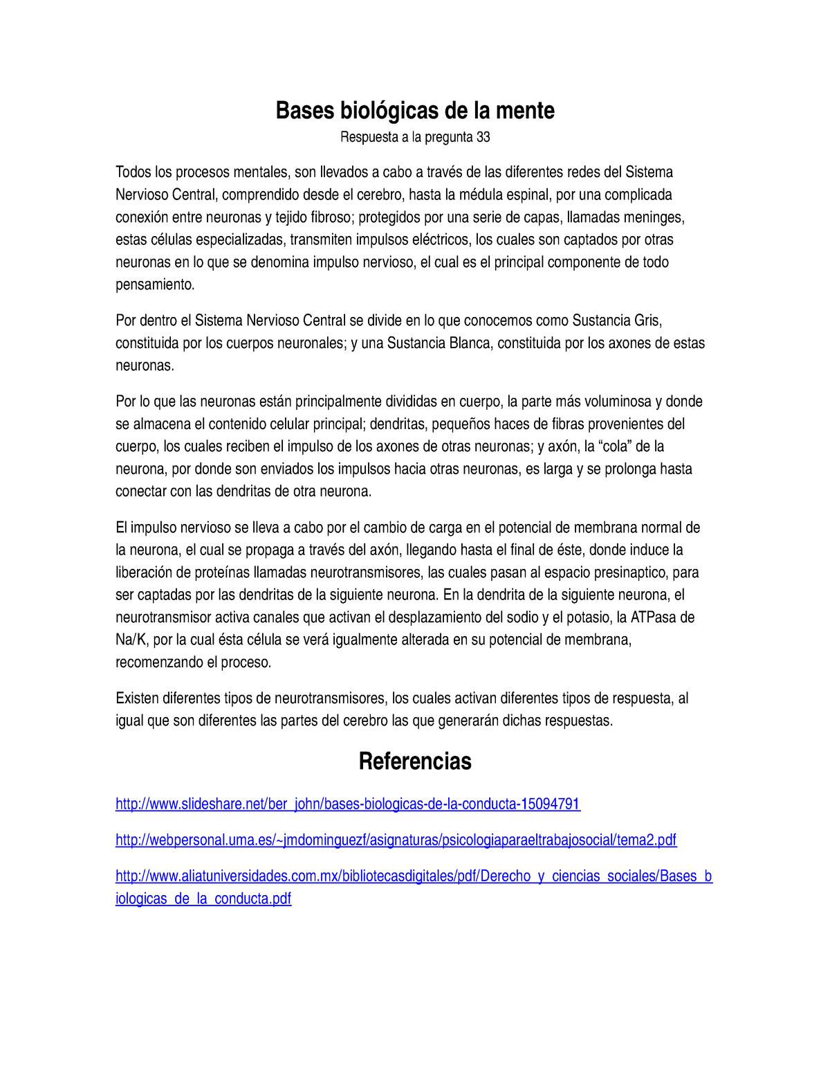 Bases Biológicas De La Mente Studocu
