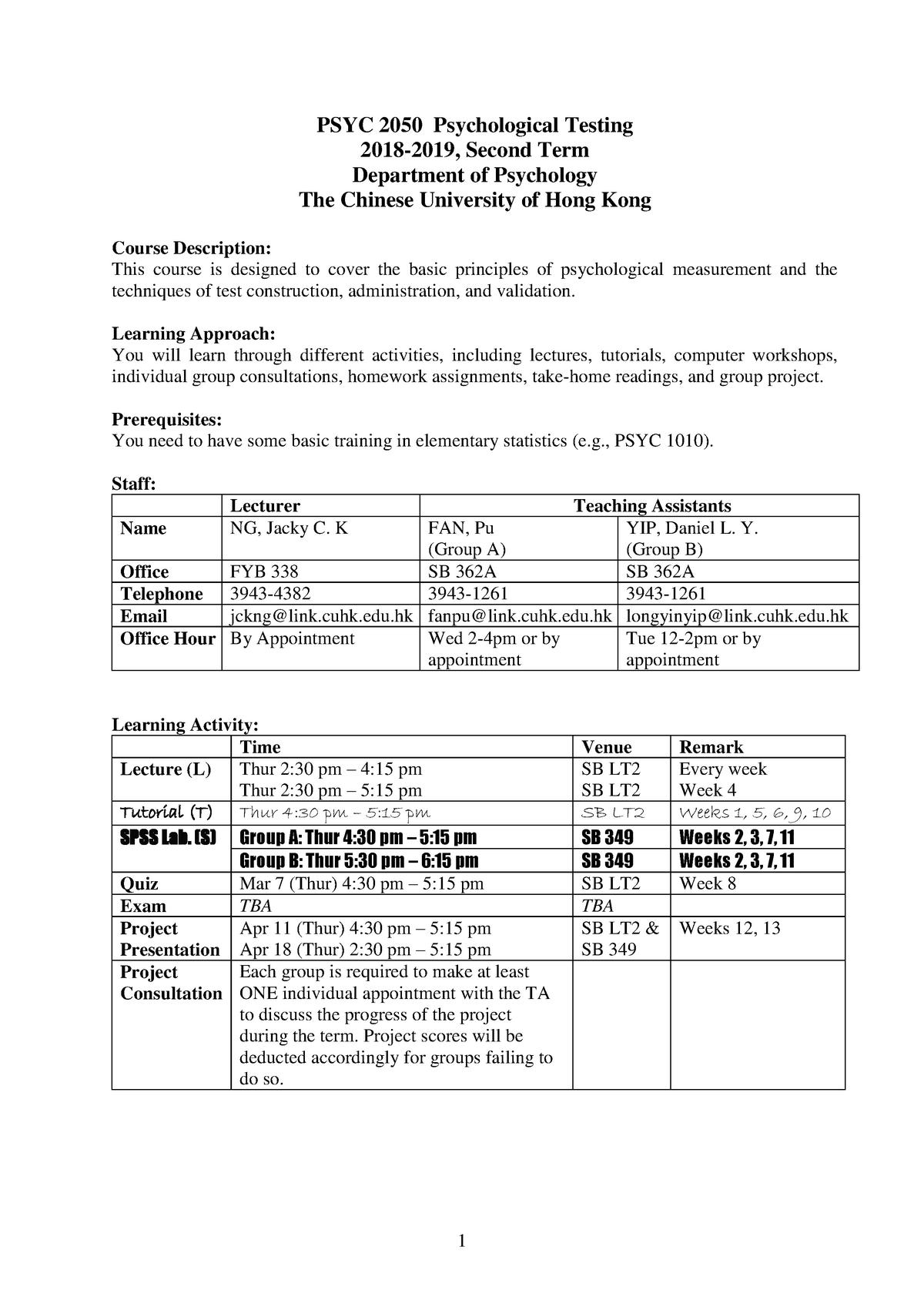PSYC2050 Course outline - Psychological Testing - CUHK - StuDocu