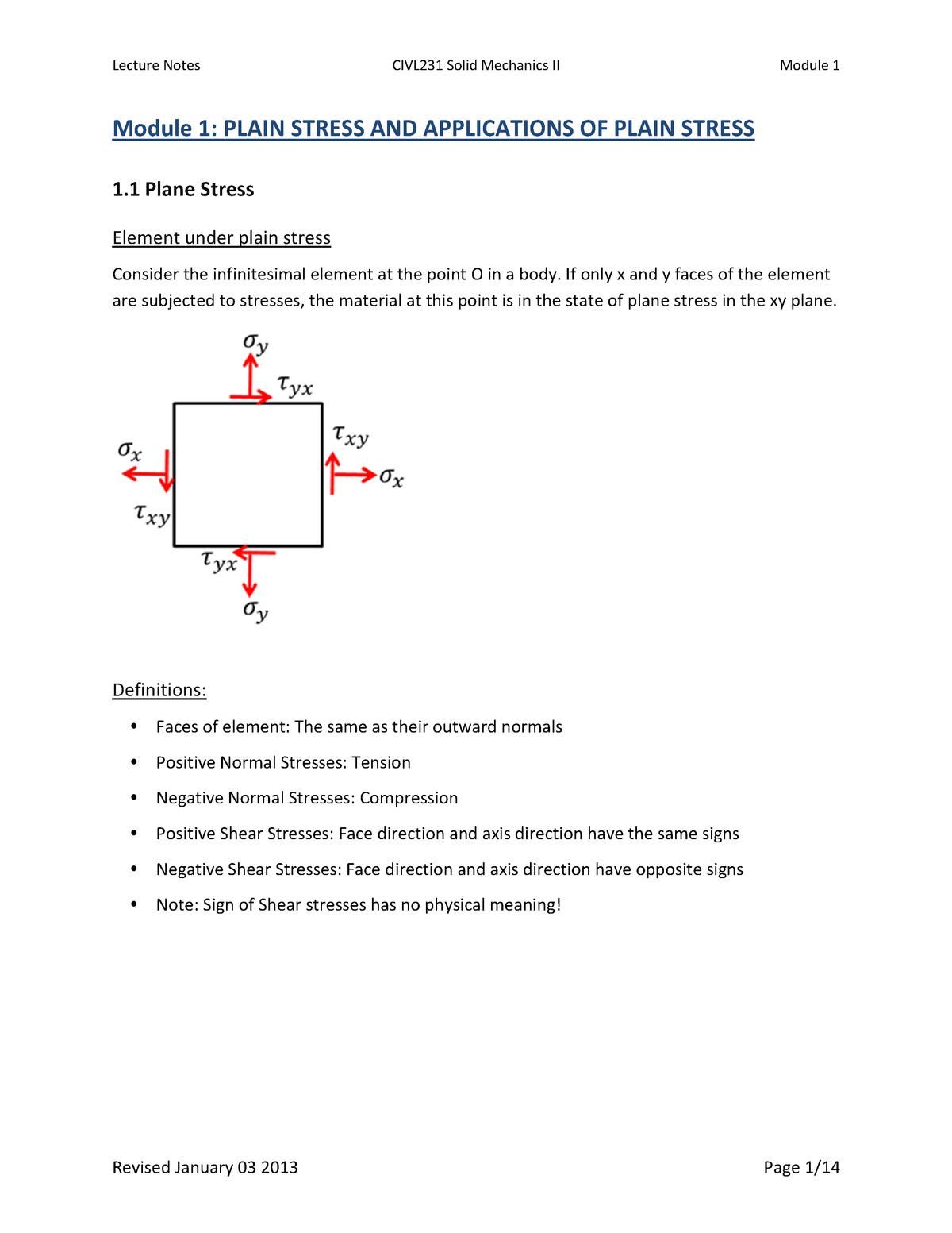 Summary Solid Mechanics - Module 1 till 6 - CIVL 231 - UBC