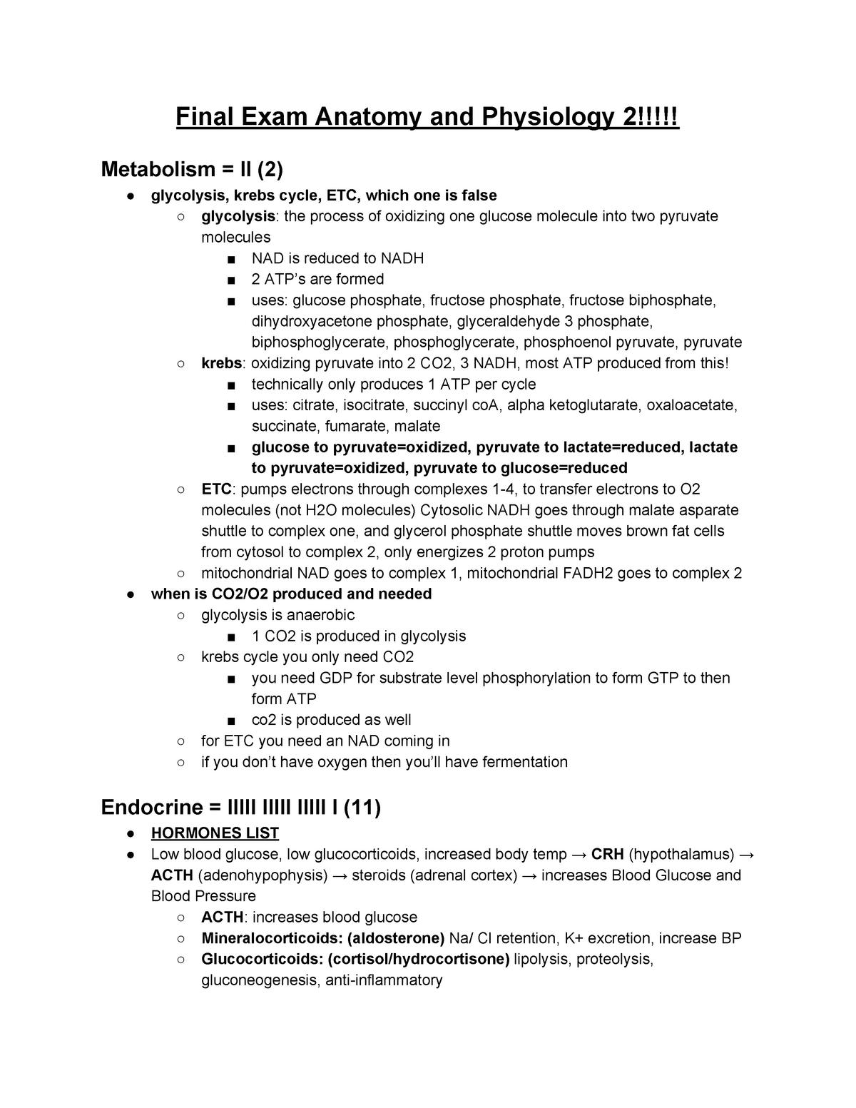Final Exam Anatomy and Physiology 2 - BIO 2402 - StuDocu