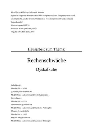 Hausarbeit Rechenschwäche 104014 Spezielle Themen Der Mathematik
