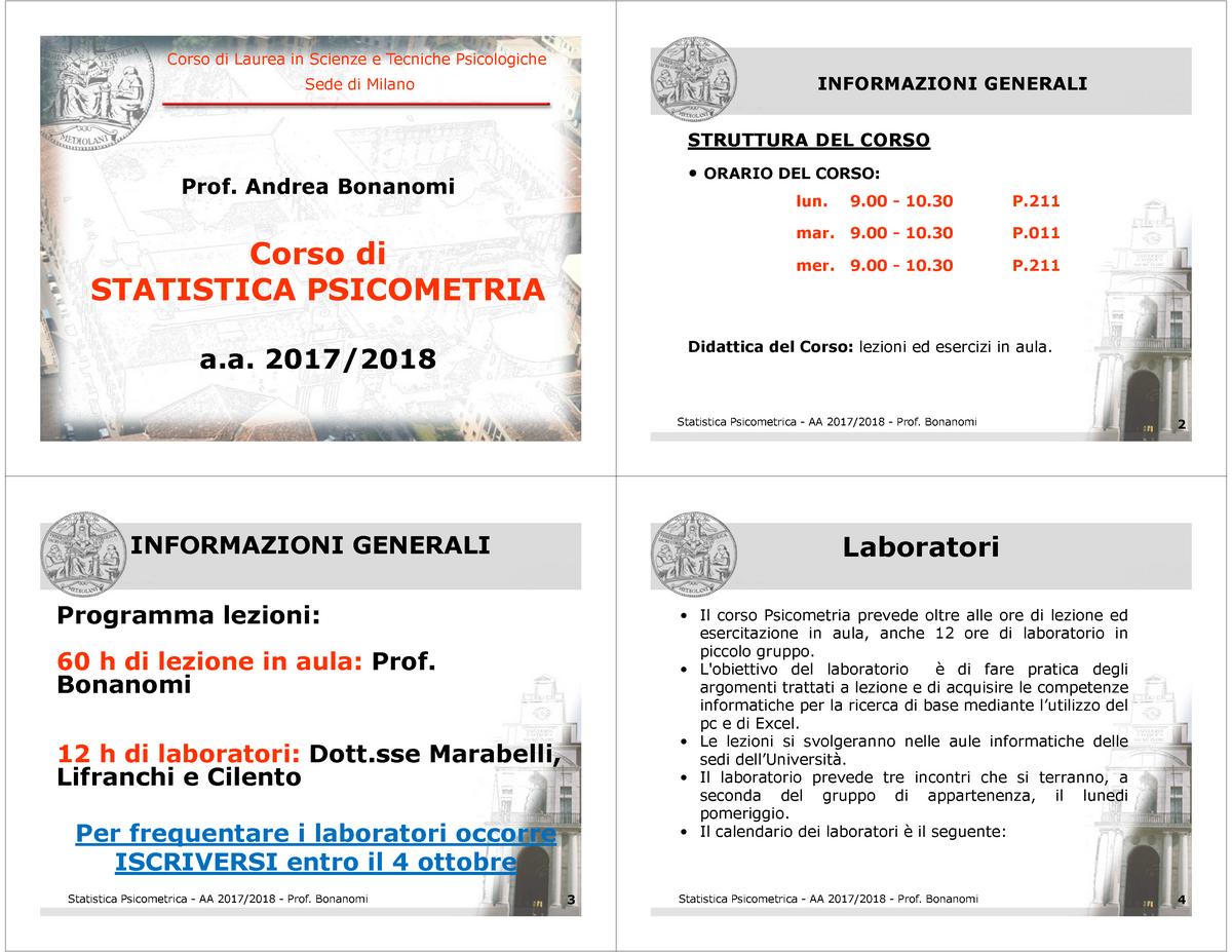 Calendario Lezioni Unicatt.1 Introduzione 1 Statistica Studocu