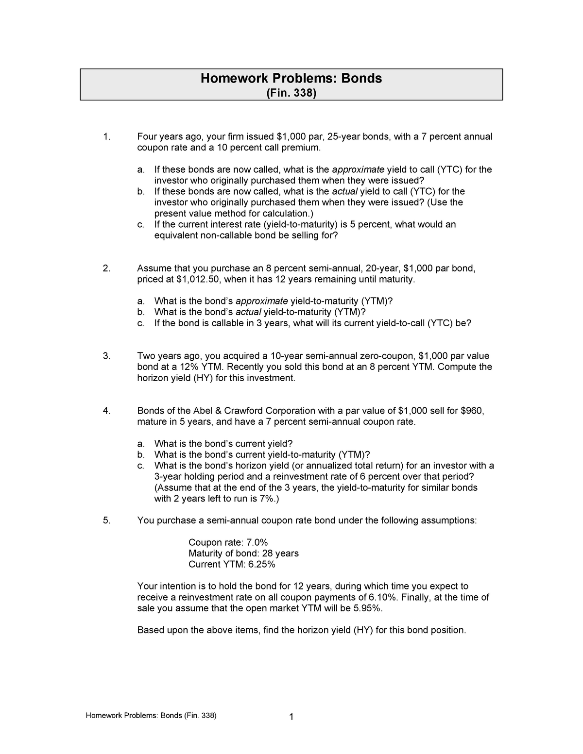 Homework Problems-Bonds (Fin  338)-Expanded (w - FIN 338