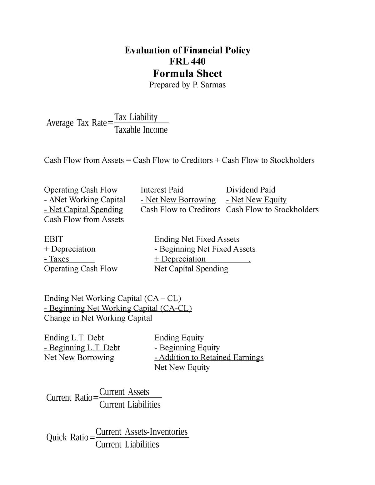 Formula - Lecture notes 1 - 1151: Management - StuDocu