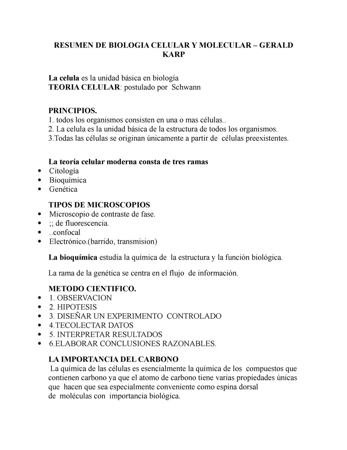 Resumen De Biologia Celular Y Molecular Una Studocu