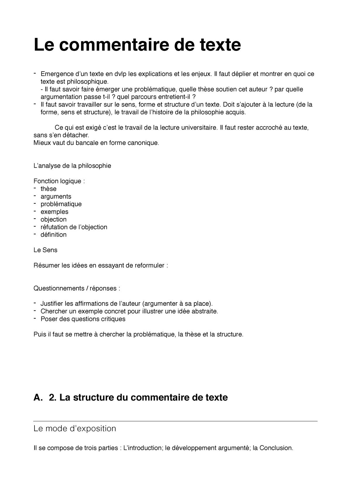 Exemple D Introduction De Commentaire De Texte Philosophique