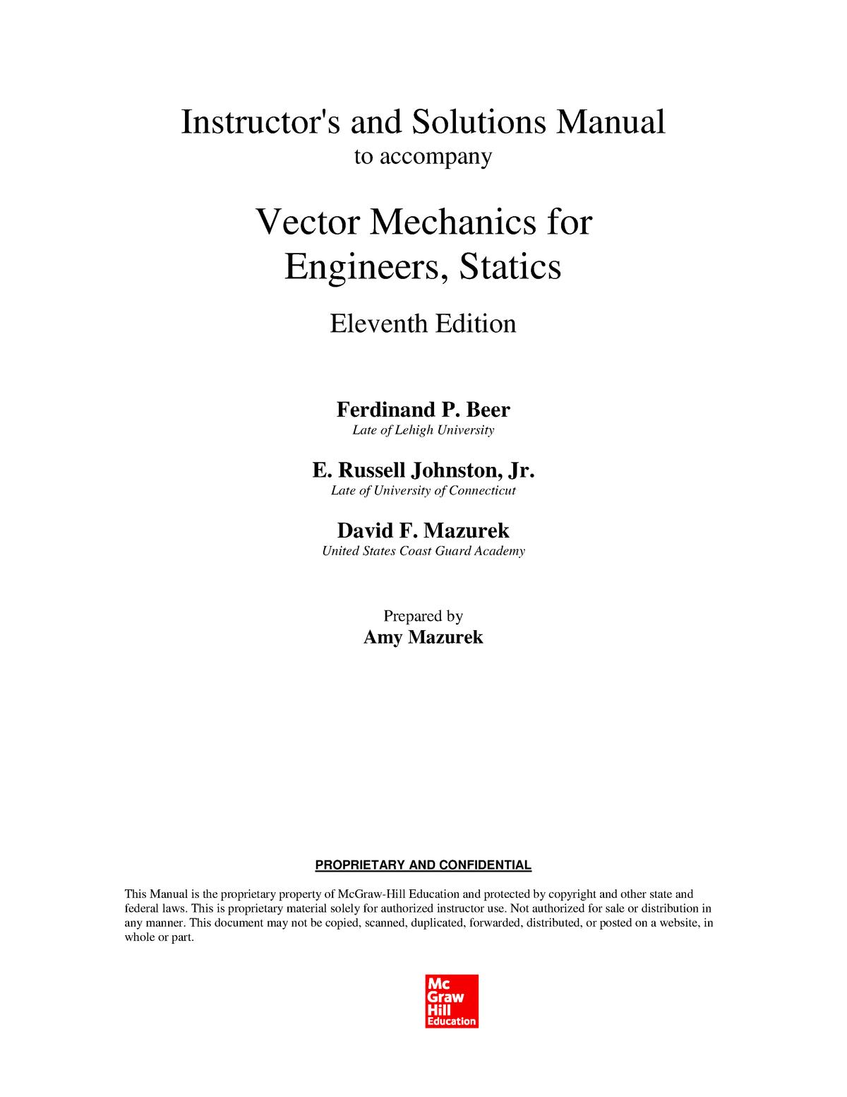 Solution Manual) Ferdinand P  Beer, E  Russell Johnston, Jr